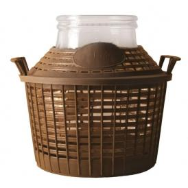 Demijohn with basket 10 l wide opening