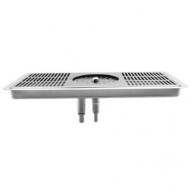 """16"""" x 7"""" Glass Rinser Drip Tray - Brushed Stainless - With Drain"""